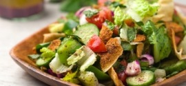 fattoush salad in wooden plate