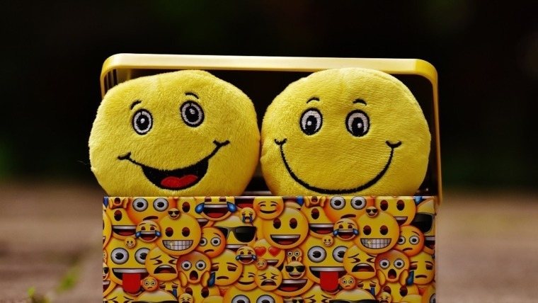 happy face plush toys in a box