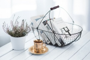 wire basket gold cup and saucer with thyme potplant