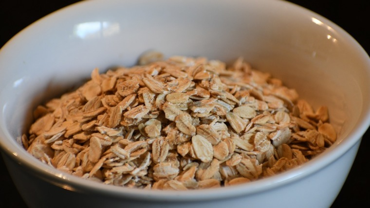 raw oats in a white bowl