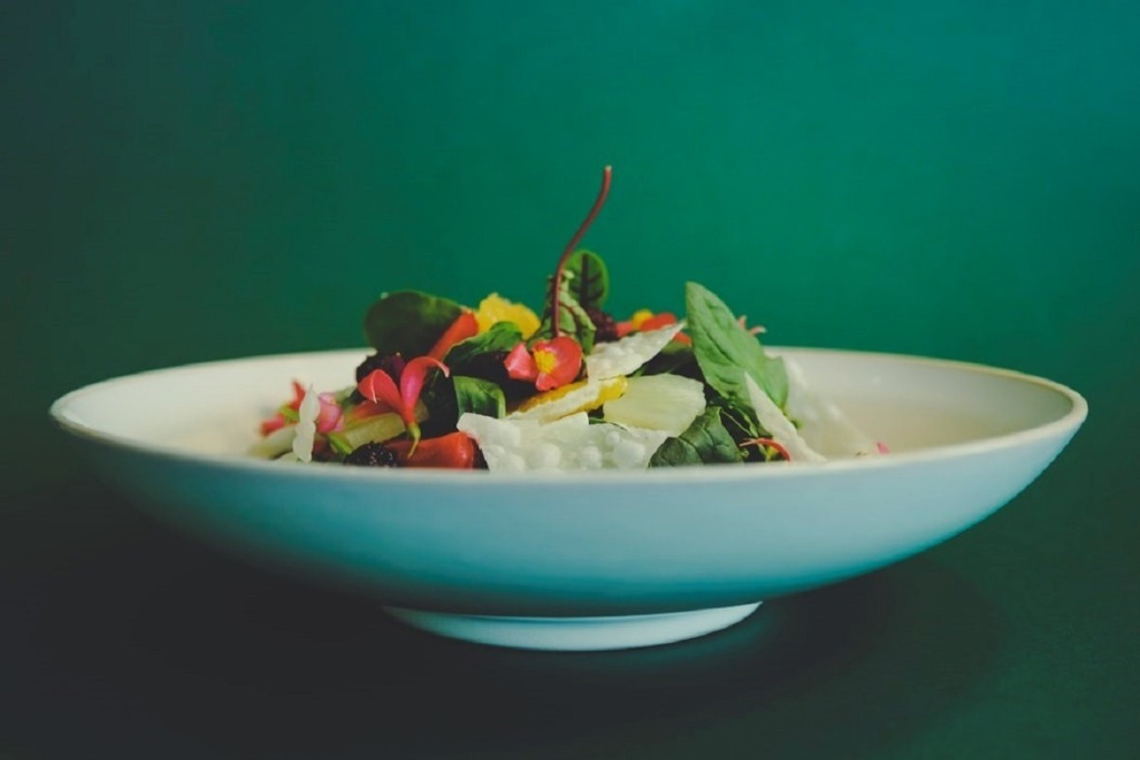 white bowl of food close up