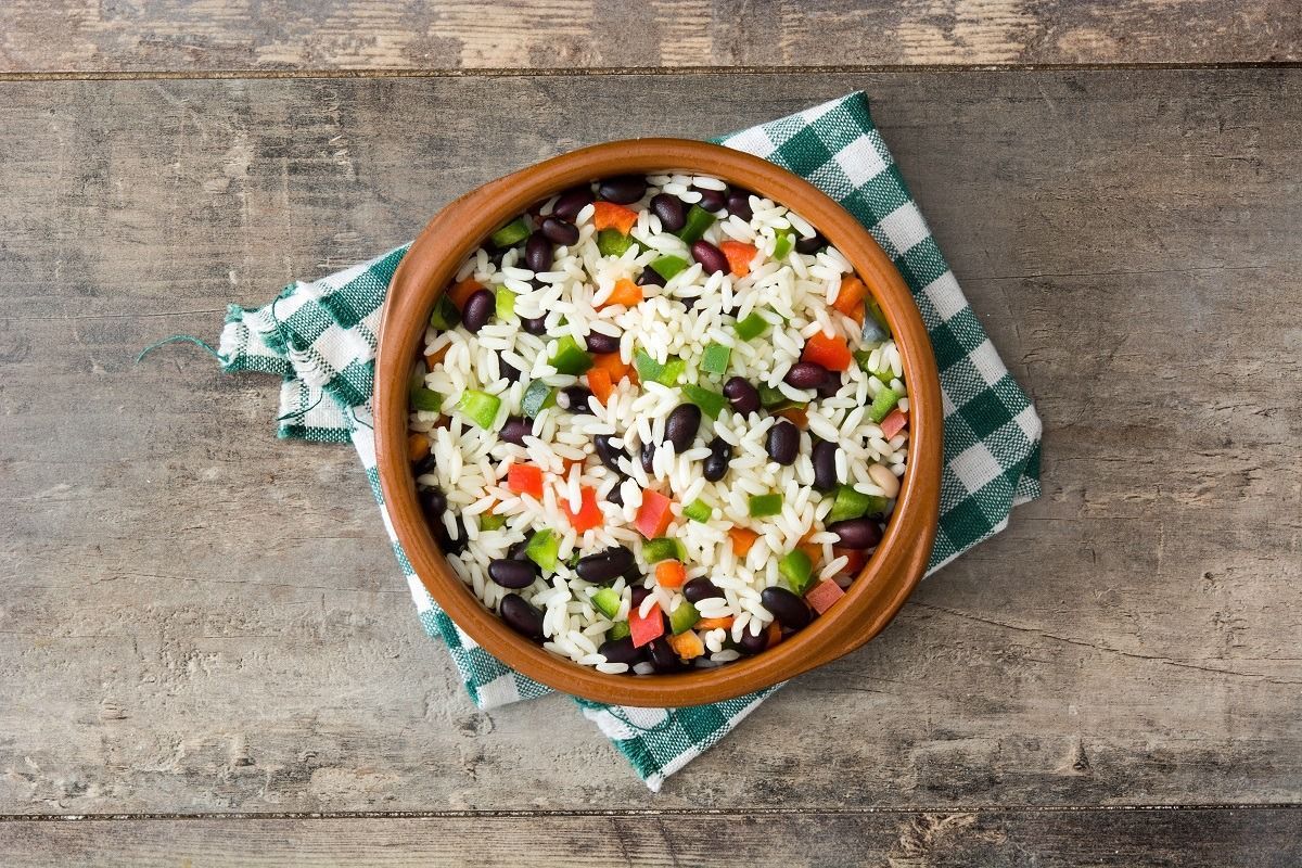 terracotta bowl of rice and beans